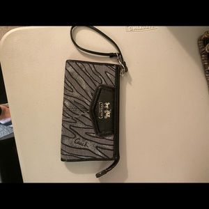 Coach Black and Silver Wristlet